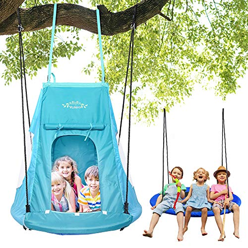 YOLEO 100cm Nestschaukel mit Zelt, Kinderschaukel Gartenschaukel, Tellerschaukel belastbar...