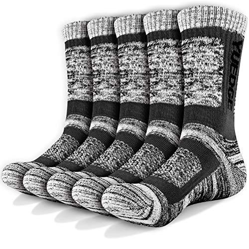 YUEDGE Wandersocken, 3/5 Paar atmungsaktive Laufsocken für Herren, Sport Socken mit Sohle...