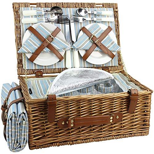 HappyPicnic Wicker Picknickkorb für 4 Personen, Willow Storage Hamper Service Geschenkset...