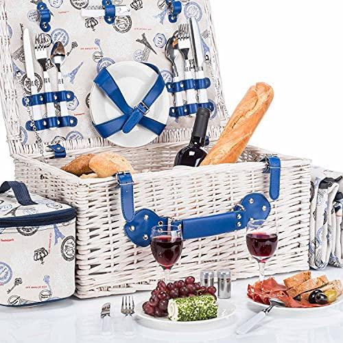 GOODS+GADGETS Picknickkorb für 4 Personen - Luxus Weidenkorb für Picknick mit...