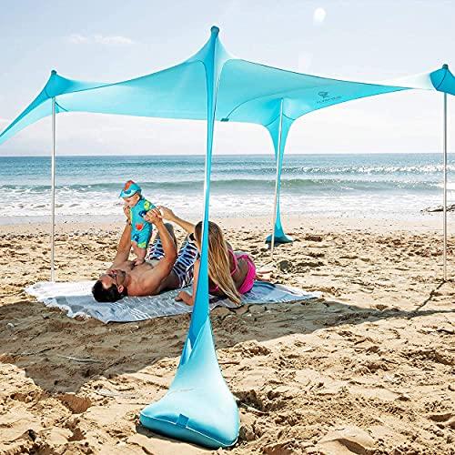 SUN NINJA Pop Up Strandzelt Sonnenschutz UPF50+ mit Sandschaufel, Erdnägeln und...