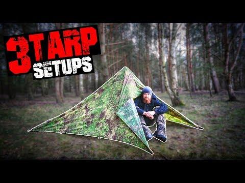 3 Tarp Shelter Setups für Bushcraft Survival Trekking - Tarp Aufbau Varianten | Fritz Meinecke