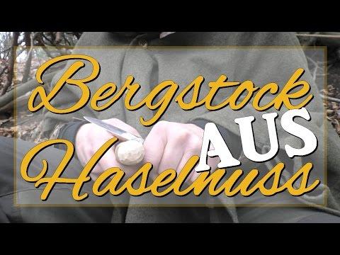 Bergstock aus Haselnuss - Waldkult, Wanderstock, Bushcraft, DIY